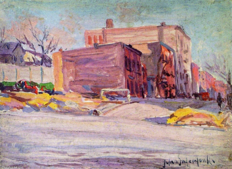 famous painting Foot of 52nd Street at Hudson Park of Robert Julian Onderdonk
