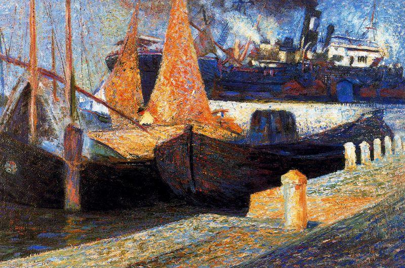 famous painting Boats in Sunlight of Umberto Boccioni