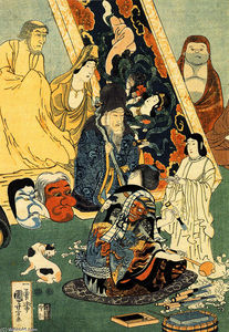 Utagawa Kuniyoshi - Sculptor Jingoro surrounded by statues