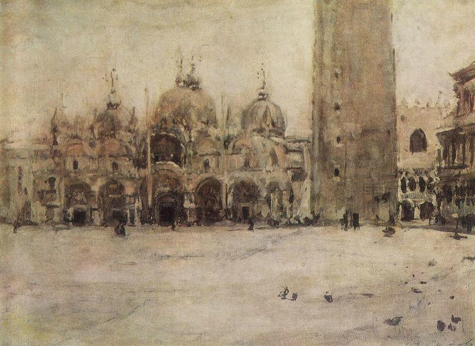 famous painting St. Mark Plaza in Venice of Valentin Alexandrovich Serov