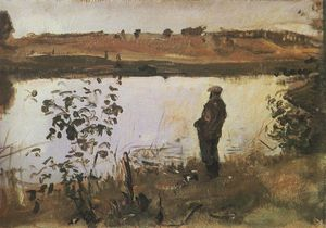 Valentin Alexandrovich Serov - Artist K. Korovin on the river bank