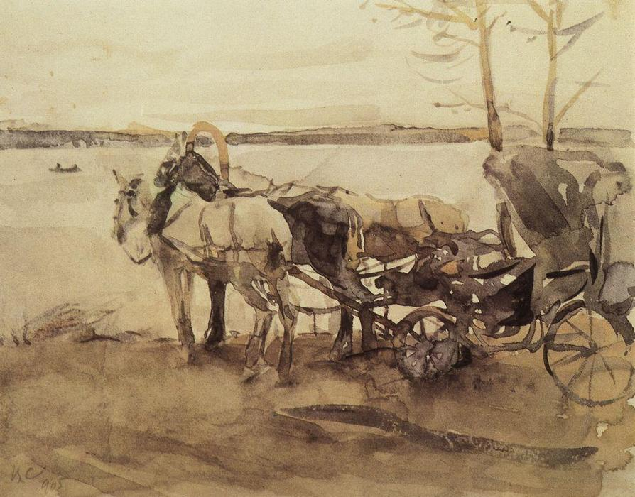 famous painting At the ferry of Valentin Alexandrovich Serov