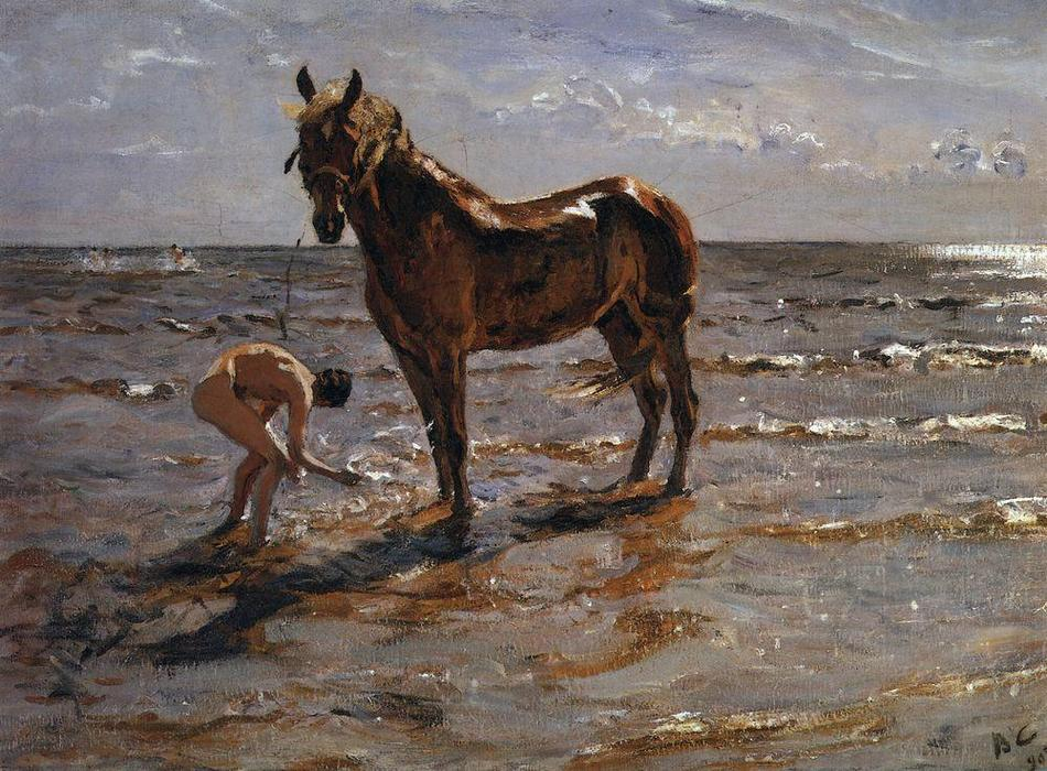 famous painting Bathing a Horse of Valentin Alexandrovich Serov