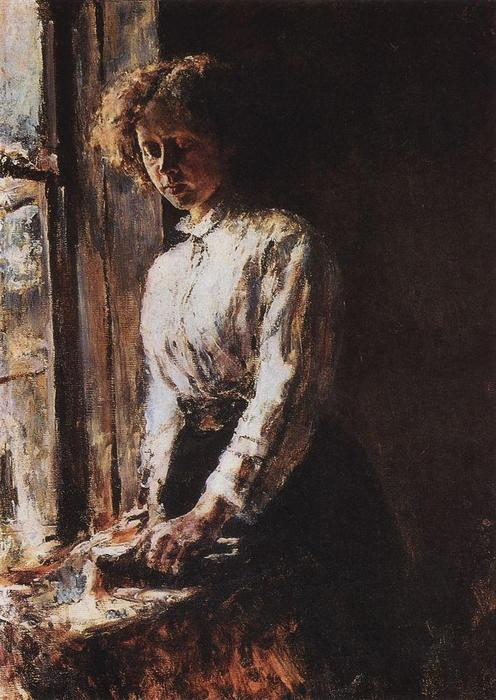 famous painting By the Window. Portrait of Olga Trubnikova of Valentin Alexandrovich Serov