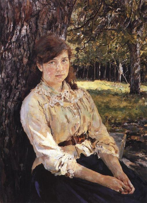 famous painting Girl in the Sunlight (Portrait of M. Simonovich) of Valentin Alexandrovich Serov