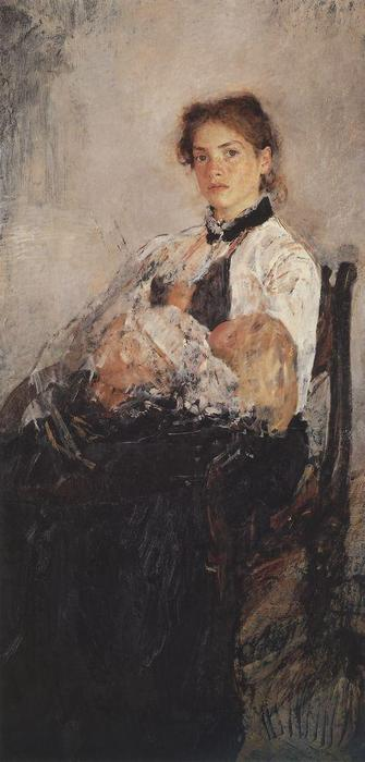 famous painting Portrait of Nadezhda Derviz with Her Child of Valentin Alexandrovich Serov