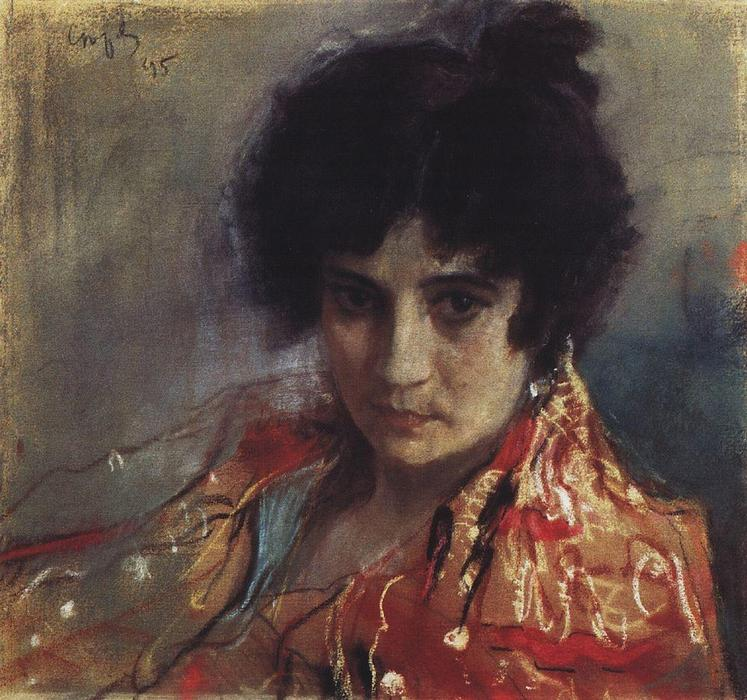 famous painting Portrait of an Unknown of Valentin Alexandrovich Serov