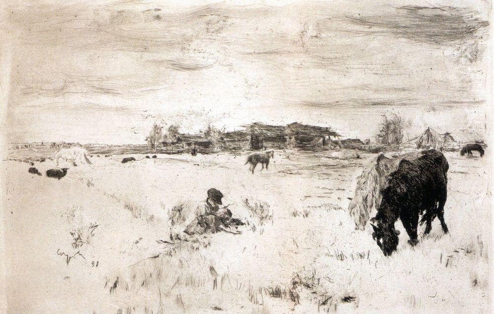 famous painting October of Valentin Alexandrovich Serov