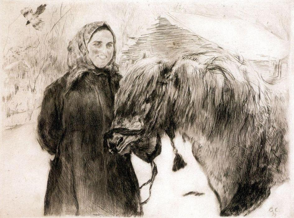 famous painting In a Village. Peasant Woman with a Horse of Valentin Alexandrovich Serov