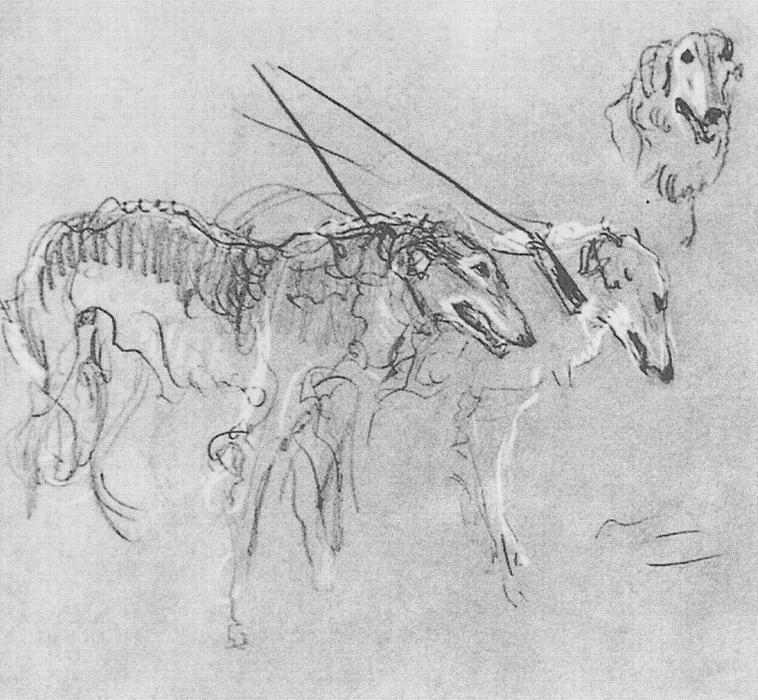 famous painting Greyhounds royal hunting of Valentin Alexandrovich Serov