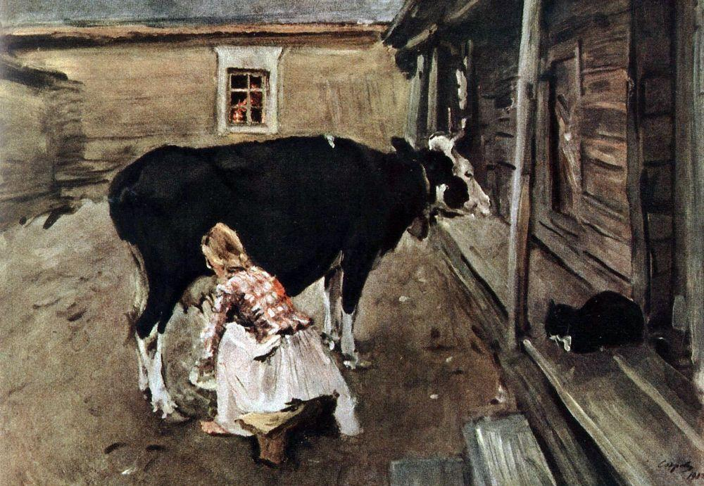 famous painting Farm Yard in Finland of Valentin Alexandrovich Serov