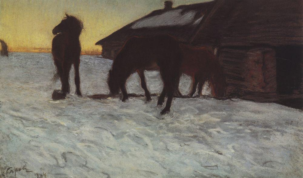 famous painting Colts at Watering Place. Domotcanovo of Valentin Alexandrovich Serov