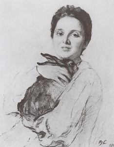 Valentin Alexandrovich Serov - Portrait of K.A. Obninskaya with bunny