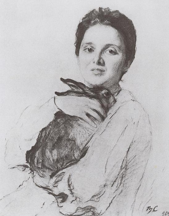 famous painting Portrait of K.A. Obninskaya with bunny of Valentin Alexandrovich Serov