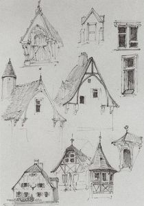 Vasily Dmitrievich Polenov - Architectural sketches. From travelling in Germany.
