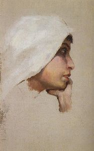 Vasily Dmitrievich Polenov - The head of a young woman in a white veil