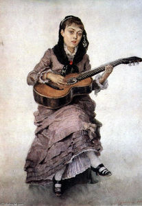 Vasili Ivanovich Surikov - Portrait of princess S. A. Kropotkina with guitar