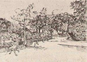 Vincent Van Gogh - Public Garden with Benches