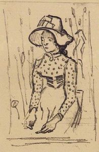 Vincent Van Gogh - Girl with Straw Hat, Sitting in the Wheat