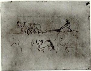 Vincent Van Gogh - Sketches of Peasant Plowing with Horses