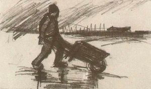 Vincent Van Gogh - Peasant, Walking with a Wheelbarrow