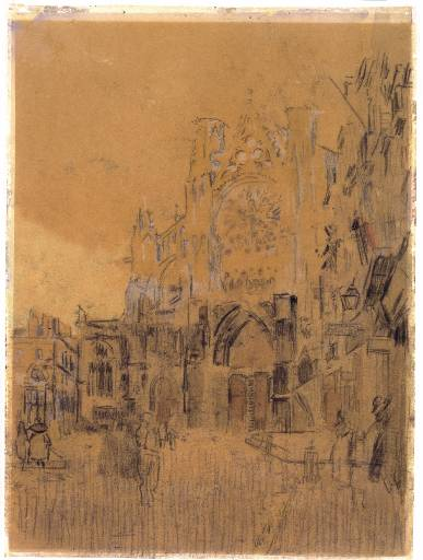 famous painting Dieppe, Study No. 2, Facade of St. Jacques of Walter Richard Sickert