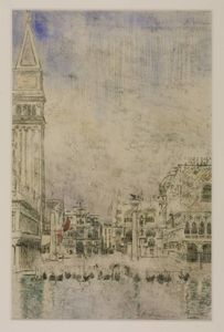 Walter Richard Sickert - The Piazzetta and the Old Campanile, Venice