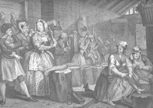 William Hogarth - A Harlot's Progress, plate 4
