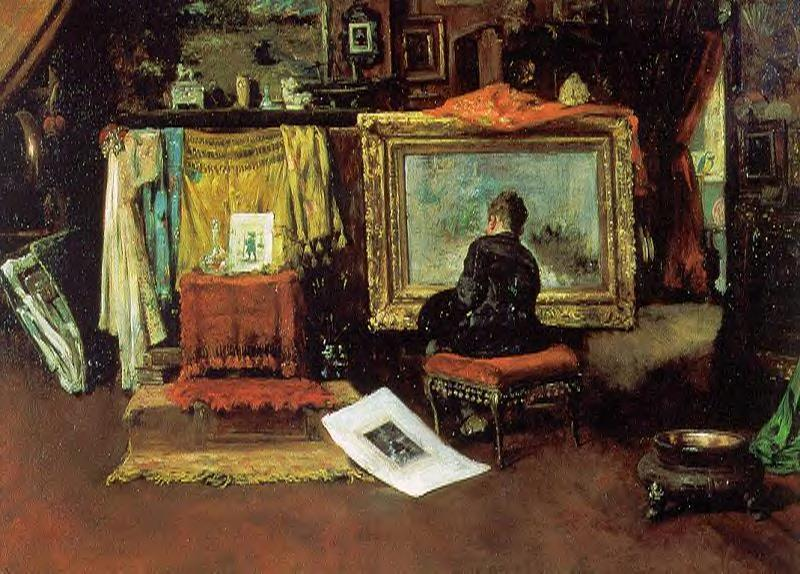 famous painting The Tenth Street Studio of William Merritt Chase