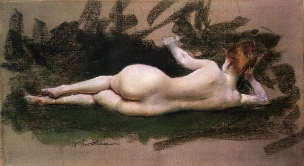 famous painting Reclining Nude of William Merritt Chase