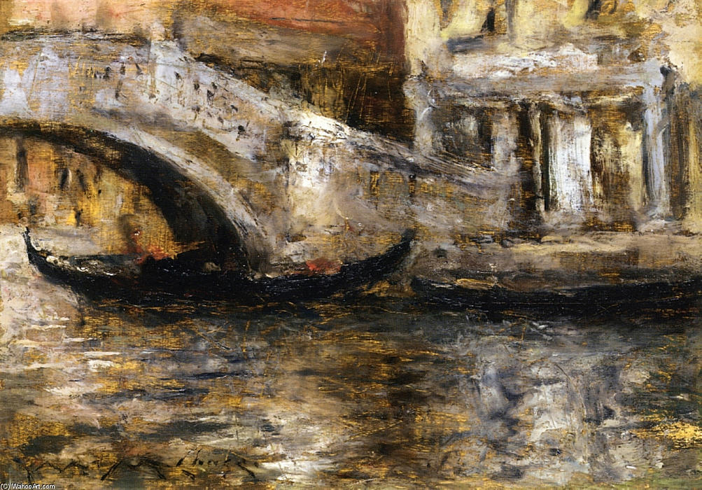 famous painting Gondolas along Venetian Canal (aka Gondola in Venice) of William Merritt Chase