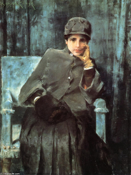 famous painting Meditation (aka Portrait of the Artist's Wife) of William Merritt Chase