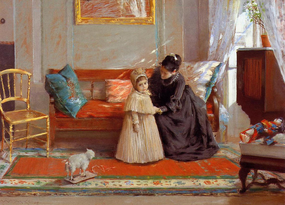 famous painting I am Going to See Grandma (aka Mrs. Chase and Child) of William Merritt Chase