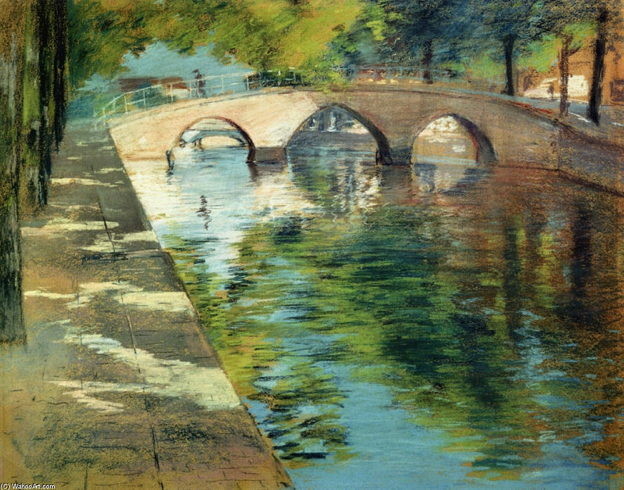 famous painting Reflections (aka Canal Scene) of William Merritt Chase