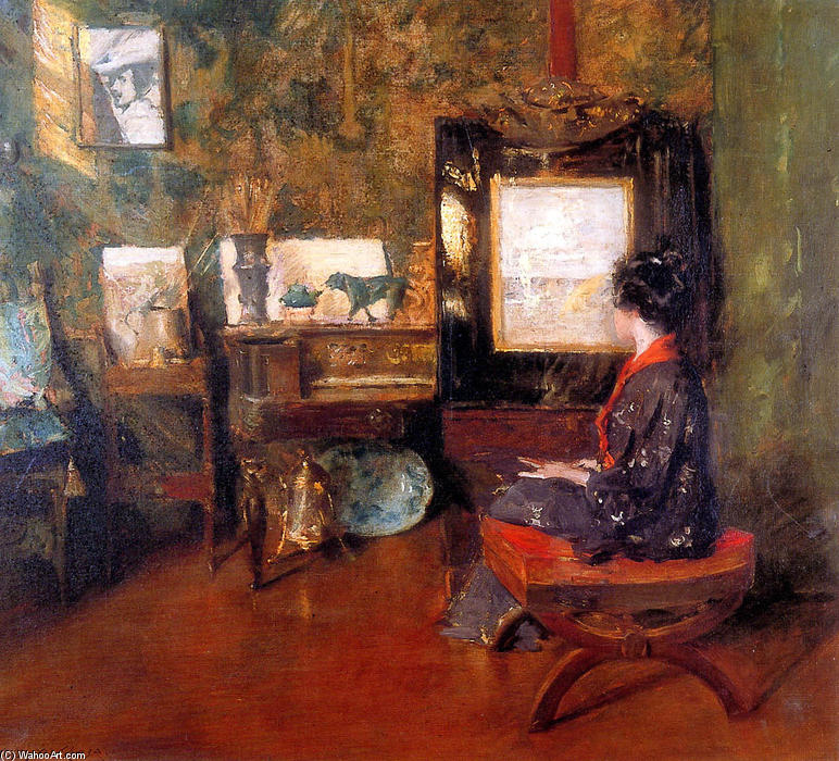 famous painting Alice in studio in Shinnecock Long Island Sun of William Merritt Chase