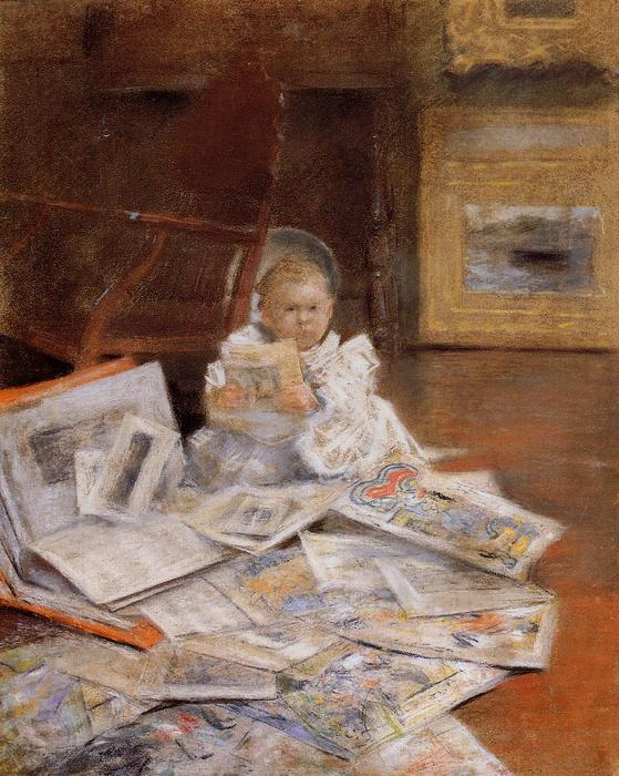famous painting Child with Prints of William Merritt Chase