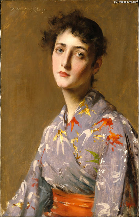 famous painting Girl in a Japanese Costume of William Merritt Chase