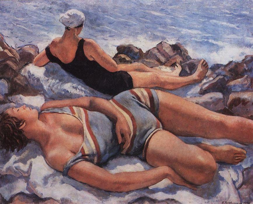 famous painting On the beach  of Zinaida Serebriakova