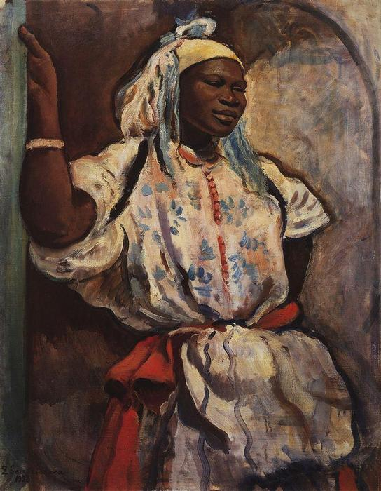 famous painting Moroccan woman in white  of Zinaida Serebriakova