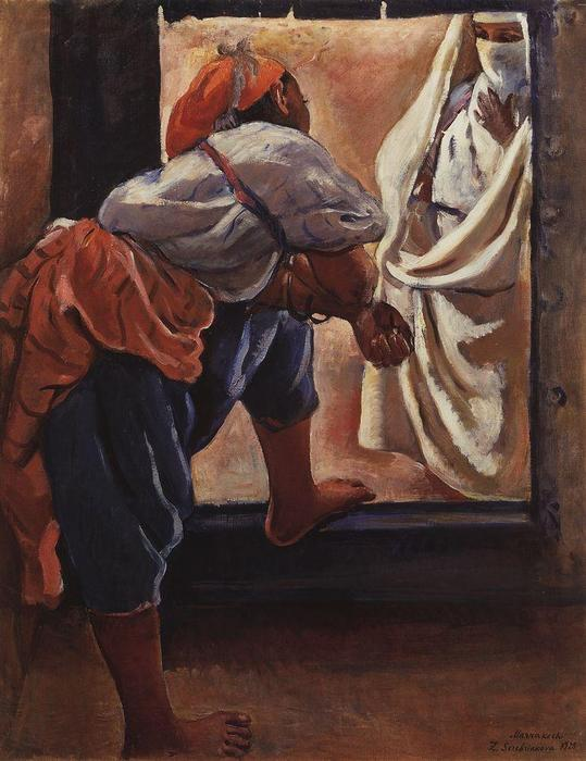 famous painting Morocco. Figure in the doorway  of Zinaida Serebriakova
