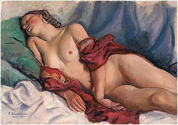 famous painting Sleeping Nude with a red shawl  of Zinaida Serebriakova