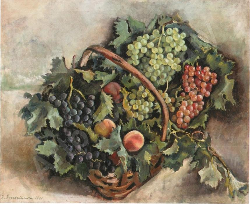 famous painting Basket with grapes and peaches  of Zinaida Serebriakova