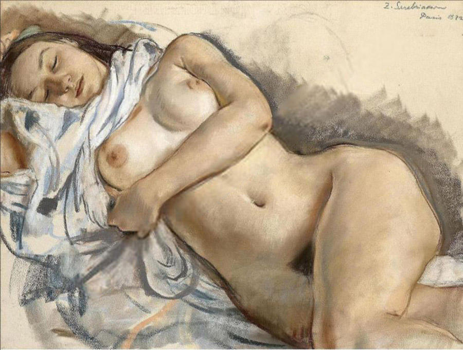 famous painting Sleeping nude  of Zinaida Serebriakova