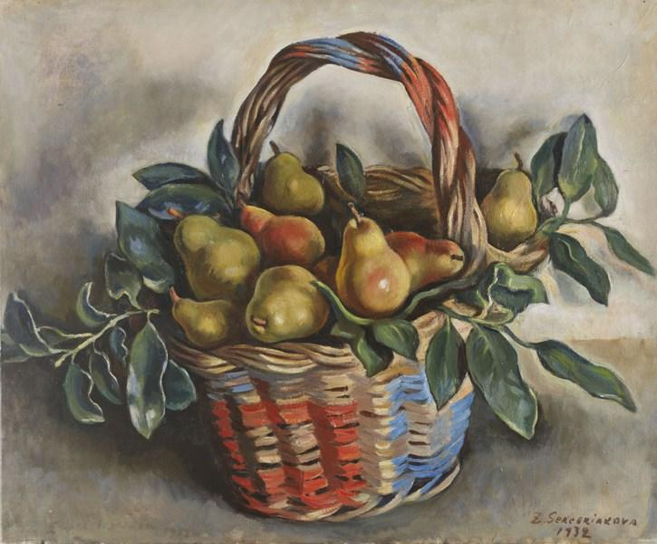 famous painting Still Life with a Basket of Pears  of Zinaida Serebriakova