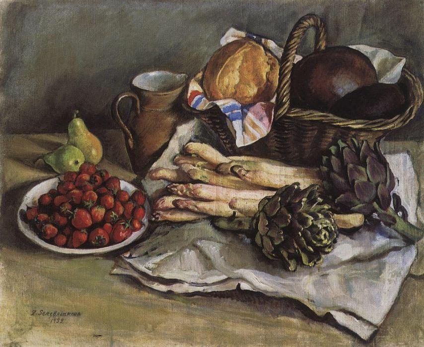 famous painting Still life with asparagus and strawberries  of Zinaida Serebriakova