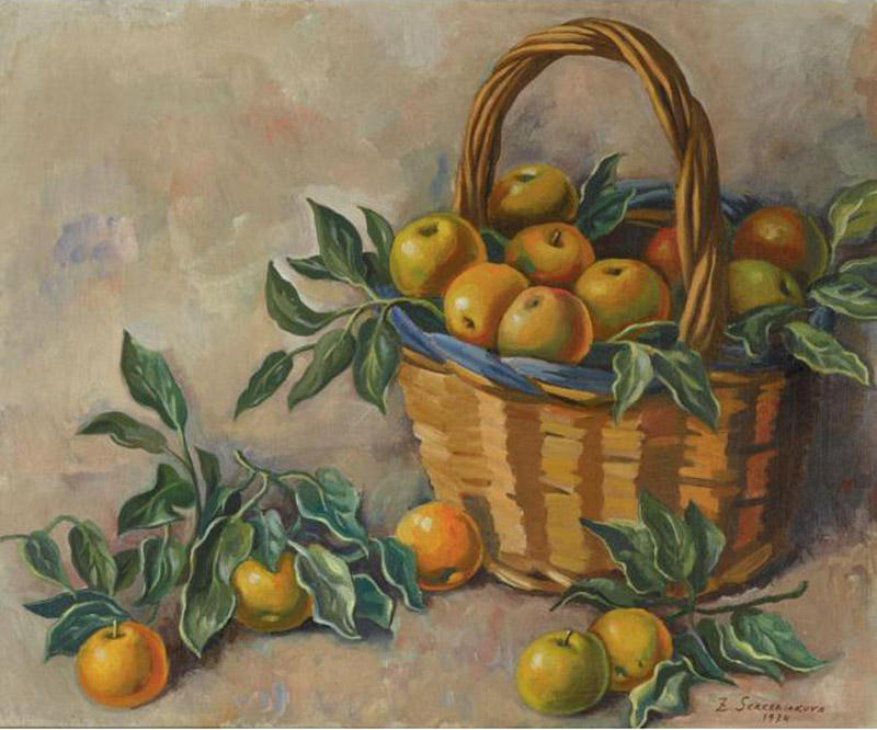 famous painting Basket of Apples  of Zinaida Serebriakova