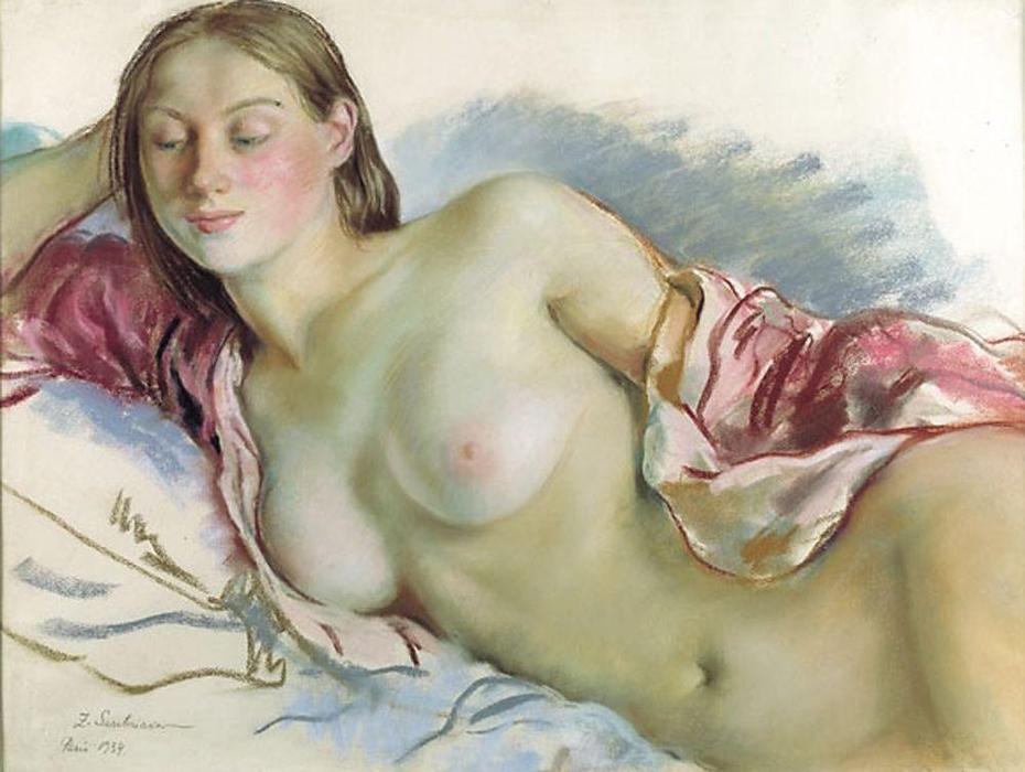 famous painting Reclining Nude with cherry mantle  of Zinaida Serebriakova