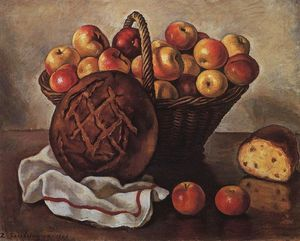 Zinaida Serebriakova - Still Life with Apples and a round bread