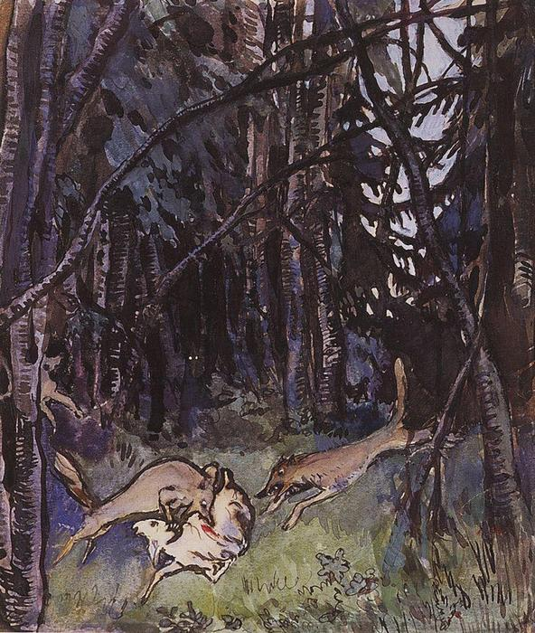famous painting Attacked a goat gray wolves  of Zinaida Serebriakova