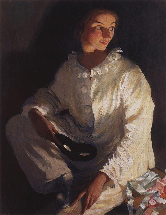 | Pierrot (Self portrait in the costume of Pierrot)  by Zinaida Serebriakova | TopImpressionists.com